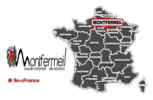 Carte de France avec positionnement de Montfermeil