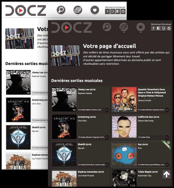 L'application métier de diffusion musicale Docz - Page d'accueil de l'application Docz en mode sombre et mode clair