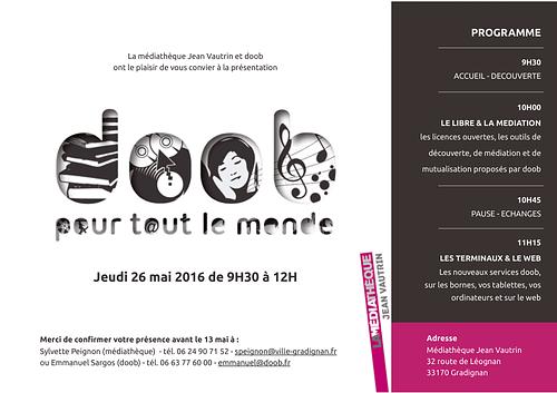 Flyer de la présentation doob à Gradignan le 26/05/16