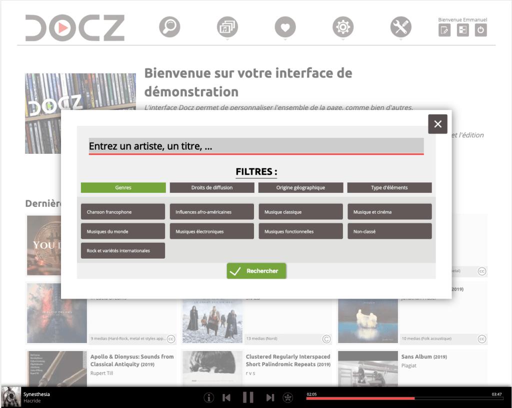 Application-diffusion-musicale-Docz-Recherche